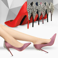 Fashion New Satin Rhinestone Pointed Toe Pumps Slim High Heels Women Party Shoes