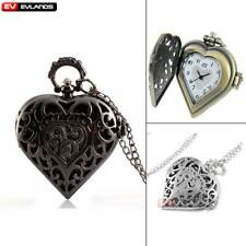 Antique Necklace Heart Pendant Retro Quartz Pocket Watch Vintage Steampunk Gift