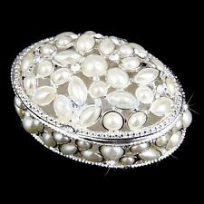 Luxury Bridal Wedding Crystal Pearl JEWELRY Box Ring Necklace Gift Case