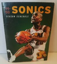 SEATTLE SONICS 1999-00 POCKET SCHEDULE GARY PAYTON COVER the glove MGD bball OKC
