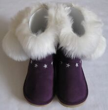GYMBOREE Fair Isle Sparkle Boots 9 New Girls Winter Suede Fur Purple Snowflake
