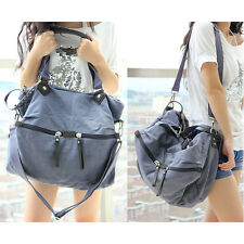 Womens Canvas Large Casual Travel Tote Messager Shoulder Bag Outdoor 4 Colors