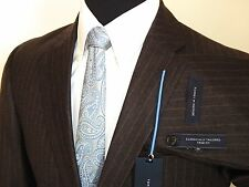 Tommy Hilfiger 100% Wool Brown Pinstripe Mens Suit Flat Front Slacks