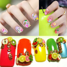 1000pcs 3D DIY Nail Art Tips Fimo Decoration Flower Fruit Clay Stickers hot