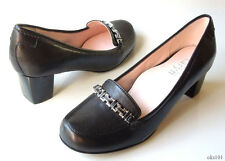 new TARYN ROSE 'Joyce' black leather CHAIN loafer-style pumps shoes 8 very comfy