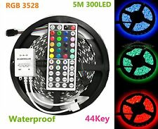 5Mx Flexible SMD 3528 RGB Waterproof LED Light Strip 300 LED+44 Key IR Remote