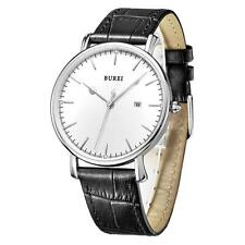 Men's BUREI Quartz Analog Dial Date Genuine Leather Strap Watch Ultra Thin R1I9