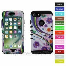 For iPhone 7 Flower Butterfly Rainbow Hybrid Rugged Armor Protective Case Cover