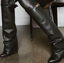 Womens Leather Fold-Over Knee-High Boots Fashion Wedge Fold Over Boots Sz10