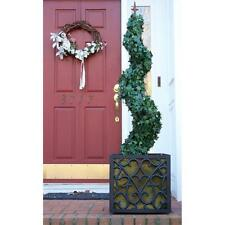 BOSMERE Charleston 17 in. Square Black Planter with Green AquaSav Coco Liner