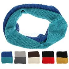 Womens Men Thick Ribbed Knit Winter Infinity Circle Loop Scarf Scarves Neck Wrap