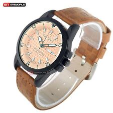 Luxury Brown Leather Quartz Wrist Watch Men's Date Dial Waterproof Sports UK NEW