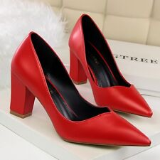 Satin Shallow Retro Pointed Toe Block Mid Heels Pumps Womens Party Wedding Shoes