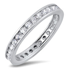 Sterling Silver 925 CZ Channel Set Women's Eternity Wedding Band Ring Size 4-10