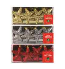 Christmas Glitter Tree Stars Hanging Shatterproof Baubles Decorations 4 PACK NEW