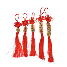 Chinese Feng Shui Protection Fortune Lucky Charm Red Tassel String Tied Coins JG