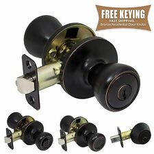 Pro-Grade Classic Door Knob Handle Keyed Entry Home Hardware, Oil Rubbed Bronze