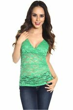 DEALZONE Gorgeous V Neck Lace Top S Small Women Green Casual Short Sleeve USA