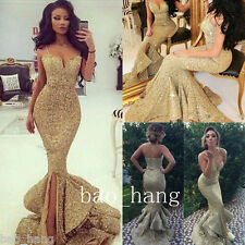 Gold Mermaid Prom Evening Dresses Sequins Celebrity Formal Party Gowns Custom