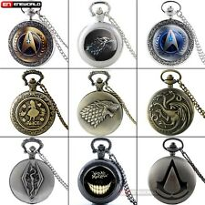 Vintage Pocket Watch Alice In Wonderland Star Trek Game of Thrones Necklace Gift