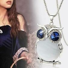Unique Owl Rhinestone Crystal Pendant Necklace Long Sweater Chain Jewelry