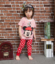 Girls Kids Outfits Pajama Sets Top Shirts+Leggings Dots Pants 2-7Y Minnie Mouse