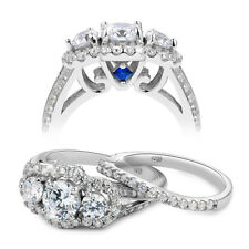 2.2ct Round White Cz Blue 925 Sterling Silver Wedding Engagement Ring Set 5-10