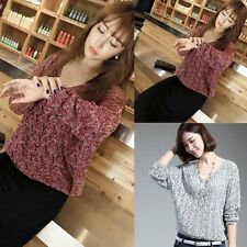 New Women Long Sleeve Knitted Jumper Loose Sweater Knitwear Pullover Tops