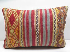 "Vintage Turkish Rug Kilim Lumbar Pillow Cover 20""X14"" Rug Cushion,Throw Pillow"