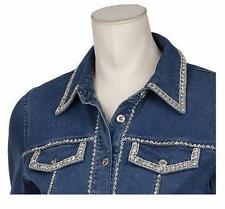 NWT BOB MACKIE'S Indigo Beaded Stretch Cotton Button Front Jean Jacket 240615RM