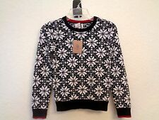 Lands' End Little Girls New Snowflake Cotton Crew Neck Sweater 100% Cotton New