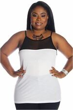 DEALZONE Lovely Mesh Accent Top 1X Women Plus Size White Casual USA