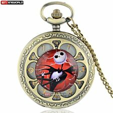 Bronze Petal Jack Skellington Quartz Necklace Vintage Pocket Watch Chain Gift UK