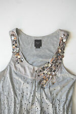 ANTHROPOLOGIE Deletta Embellished Sequin Jersey Tank Top Size S