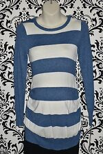 NWT Liz Lange Maternity Casual Blue Cream Striped Long Sleeve Top Size XSml Med