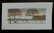 Original/Art/Painting/Watercolour/Barn/Sheep in the snow/by M.S.Wakefield