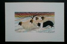 Original/Art/Painting/Watercolour/Collie Dog/Sheep in the snow/by M.S.Wakefield