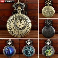 Antique Space Time Police Box Pocket Watch Quartz Necklace Chain Gift Vintage
