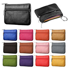 Women Card Coin ID Key Money Zip Pouch Bag Purse Wallet Genuine Leather Holder