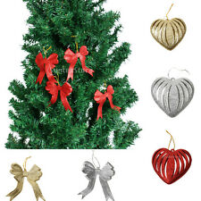 10pcs Christmas Wedding Party Glitter Heart Bowknot Hanger Tree Decorations