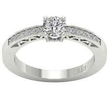 SI1 G 0.75 Ct Solitaire Ring Anniversary Band Round Diamond White Gold Pave Set