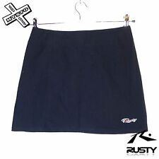 RUSTY BLACK WOMENS MINI SKIRT MEDIUM M UK 8 - 10 COTTON BEACH SURF BNWT