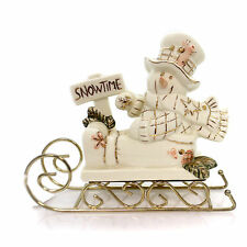 Christmas IVORY/GOLD SNOWMAN SLEIGH RIDE Christmas Winter Holiday 6523874