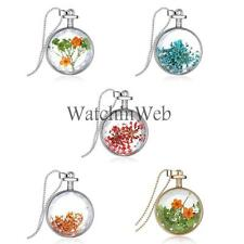 Fashion Dried Flower Clear Glass Locket Pendant Necklace Silver Chain