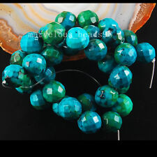 "12mm Green Faceted Azurite Round Loose Bead 15.5""  G6536"