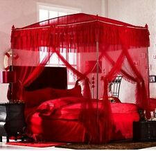 Red Princess Lace 4 Post Arched Bed Curtain Canopy Mosquito Net With Frame
