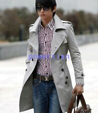 Mens Double Breasted Trench Fashion Coat Casual British Slim Fit Jacket Outdoor