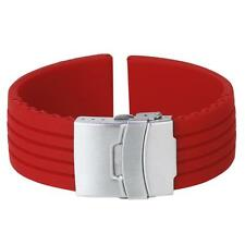 Red Silicone Rubber Watch Strap Band Deployment Buckle Waterproof 20-24mm Diving