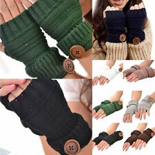 Fashion Unisex Men Women Knitted Fingerless Winter Gloves Soft Warm Mitten Solid