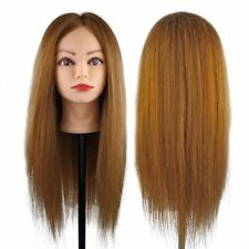 Cosmetology Training 100% Real Human Hair Head Mannequin Hairdressing Doll Clamp